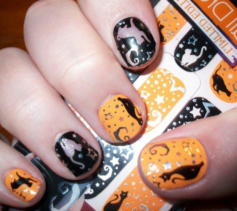 Katze und Sterne attraktives Nageldesign Halloween