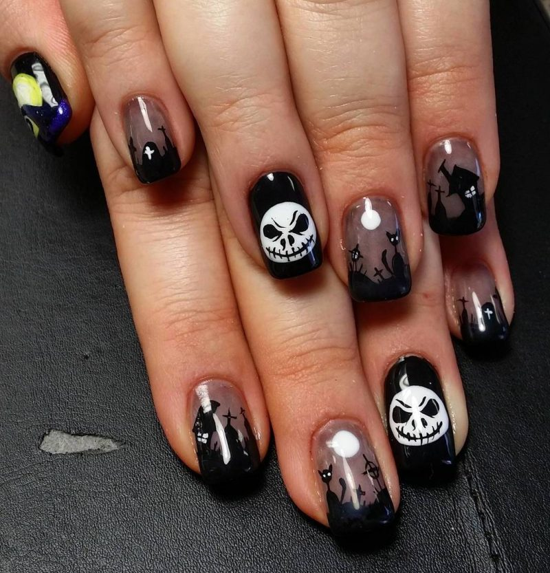 Nageldesign Schwarz Halloween