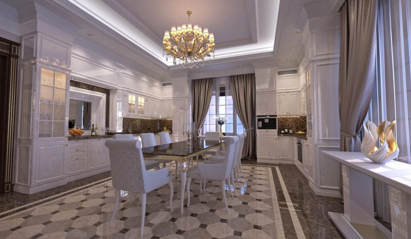 Interior design of classic style kitchen and dining room in the privat residence