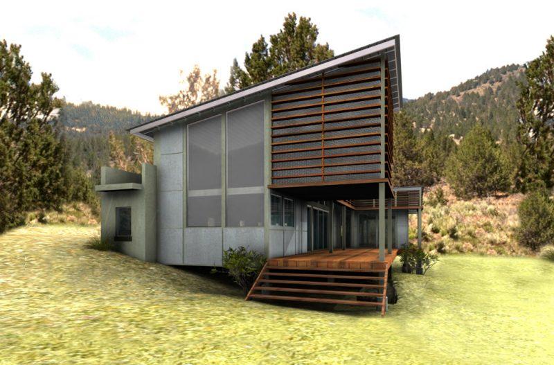 Ökohaus wird aus Holz und Lehm erstellt