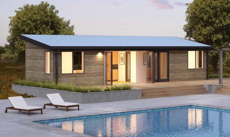 Ökohaus wirkt atemberaubend mit einem Schwimmbad