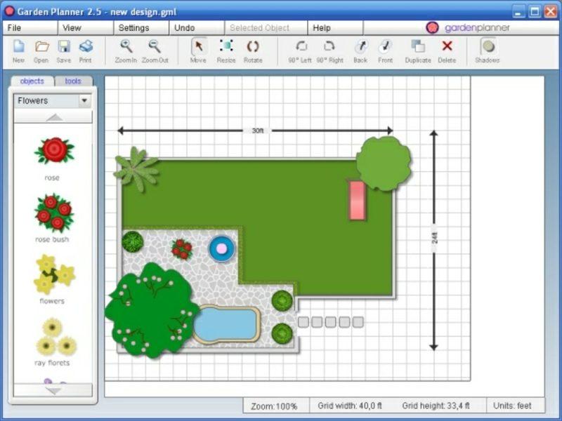 2D-Gartenplaner schematische Darstellung des Aussenbereichs