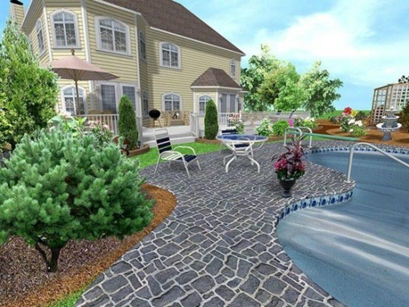 3D-Gartenplaner realistischer Look der Landschaft