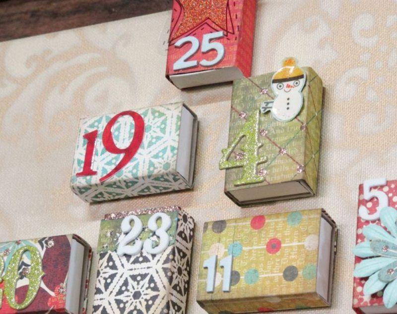 Adventskalender aus bunten Streichholzschachteln