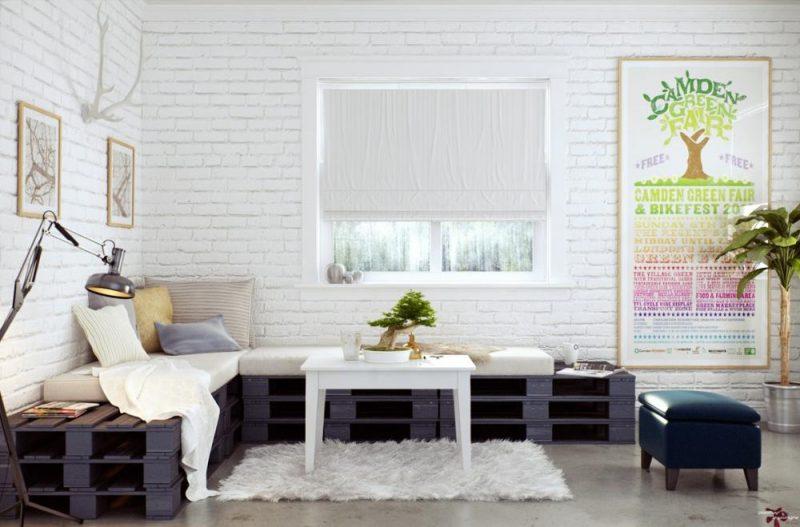 Sofa aus Europaletten im Wohnzimmer