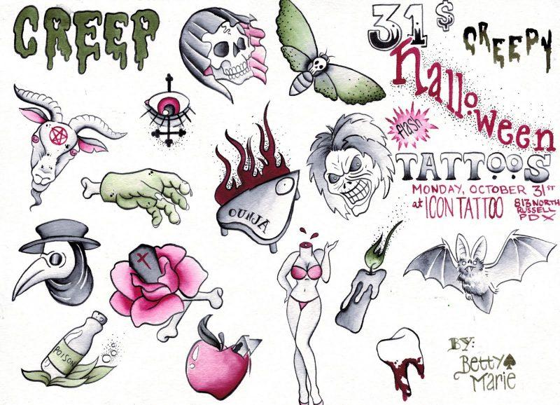 Tattoovorlage Halloween gruselig