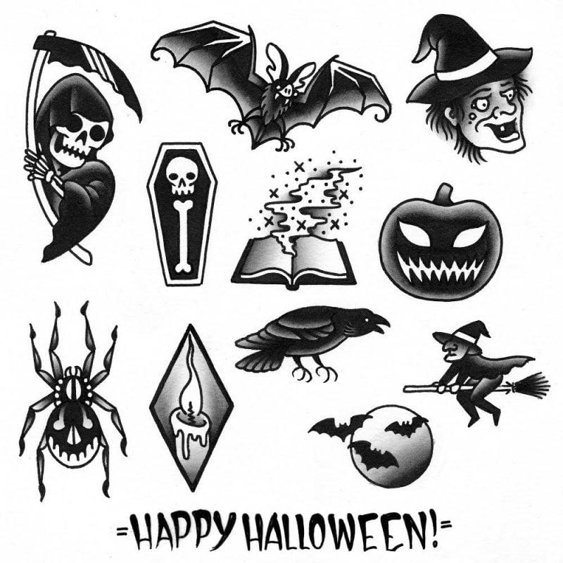 Tattoovorlage Halloween Schwarz Weiß