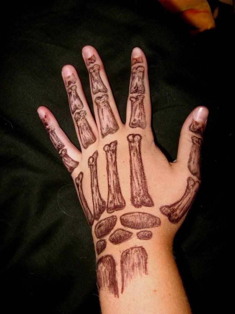 Tattoovorlage Halloween Skelett Hand