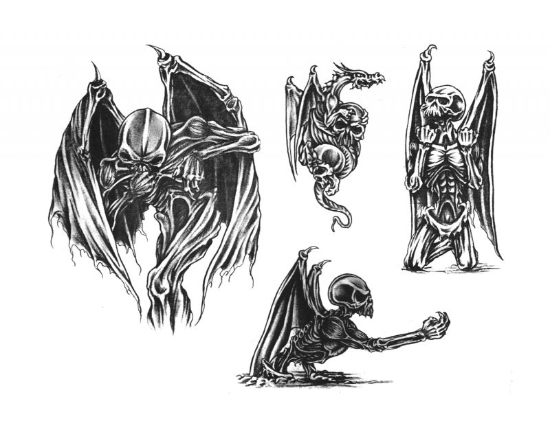 Tattoovorlage Halloween Skelett