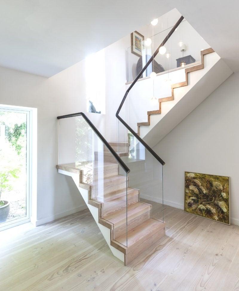 Treppengeländer selber bauen DIY Ideen aus Glas