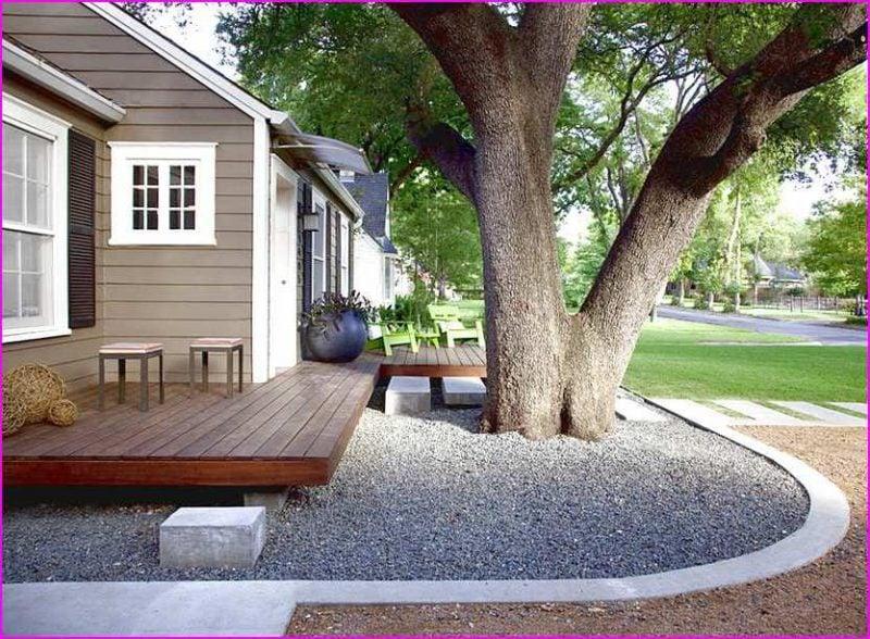 Vorgärten mit Holzplatten