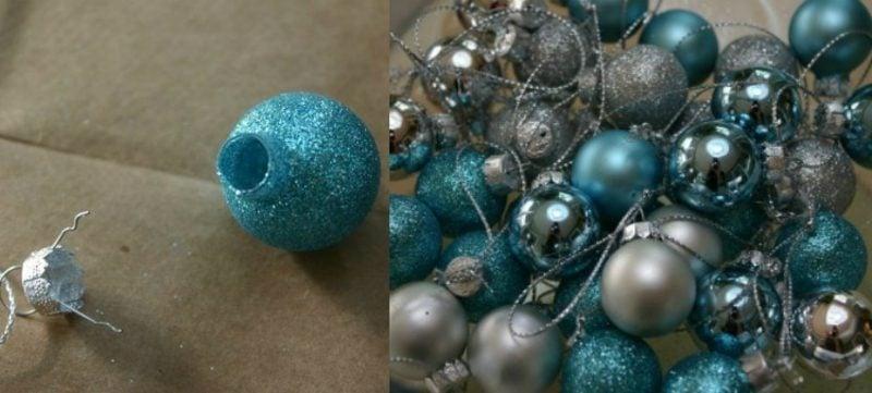 Basteln zu Weihnachten Adventskranz aus Kugeln