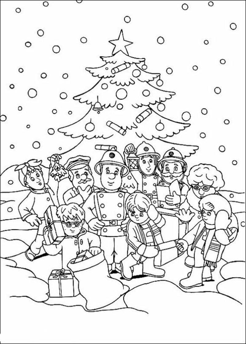 Ausmalbilder Weihnachten feiern Schnee Weihnachtsbaum Kinder Polizisten Feuerwehrmänner