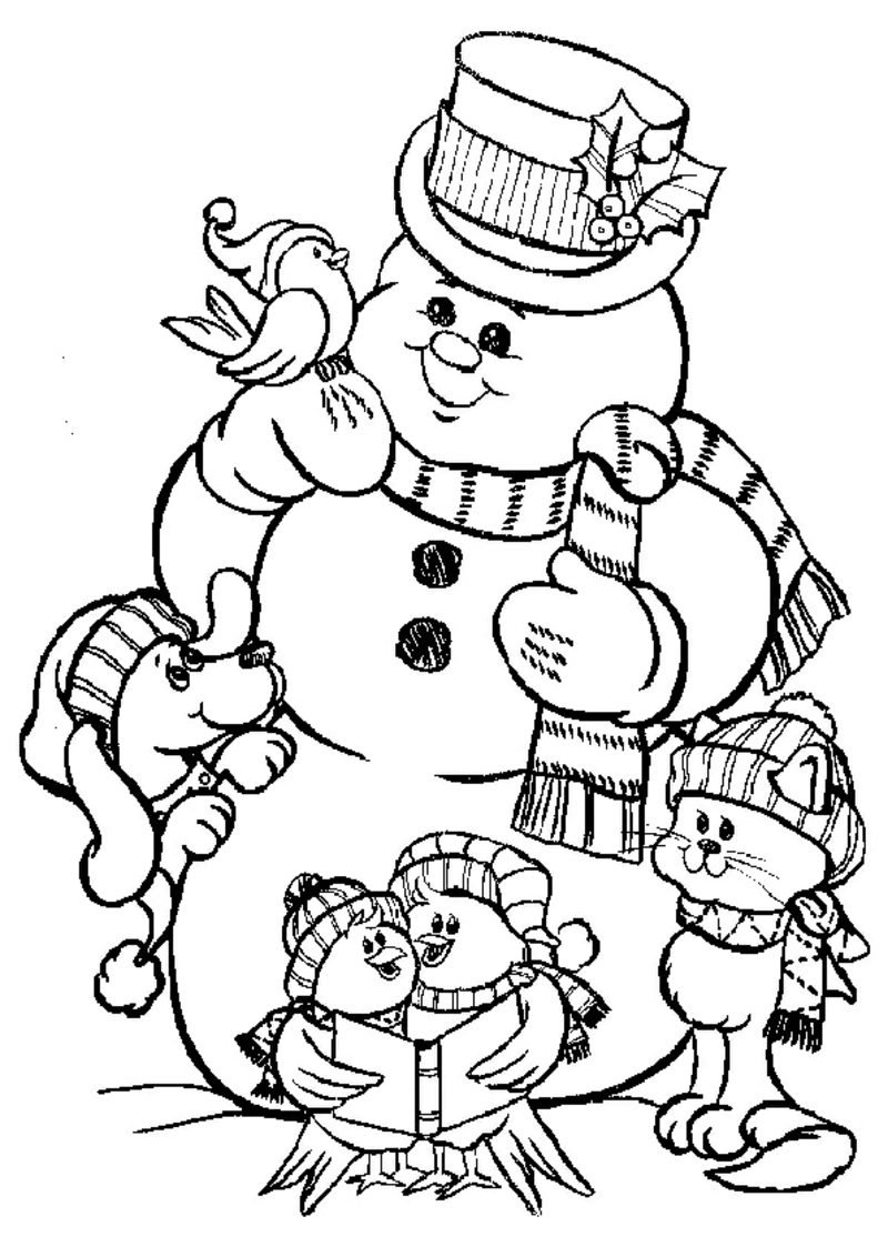 Ausmalbilder zu Weihnachten Schneemann mit Tiere Hund Katze Vogel