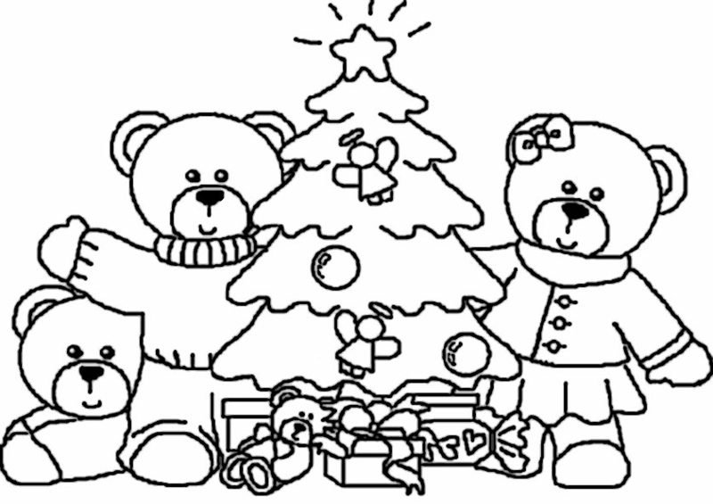 Ausmalbilder Bären feiern Weihnachten