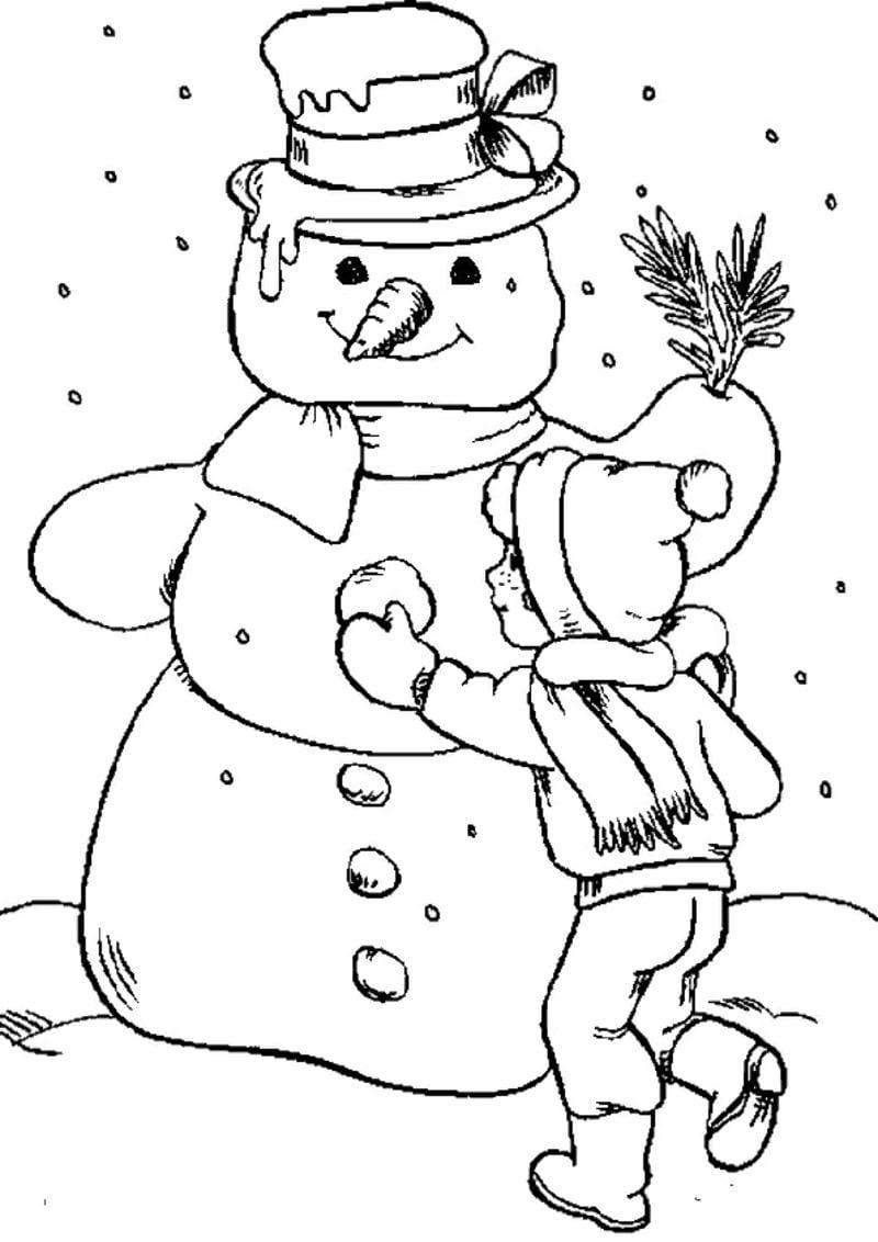 Ausmalbilder zu Weihnachten Kind macht grossen Schneemann
