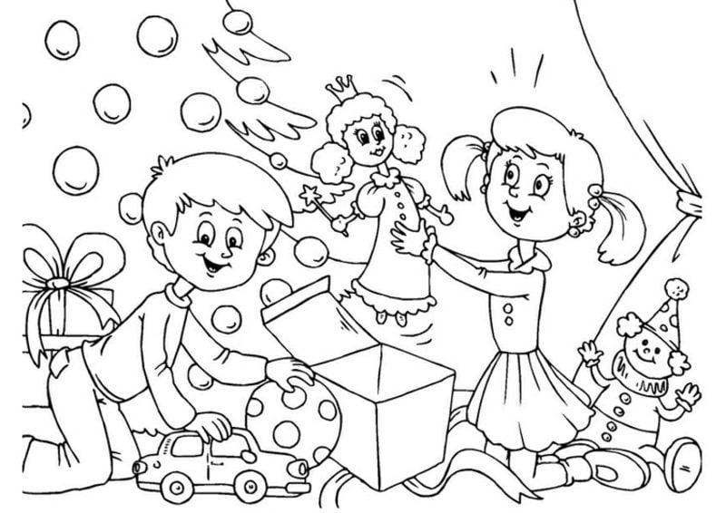 Ausmalbilder zu Weihnachten Kinder freuen sich über ihre Geschenke