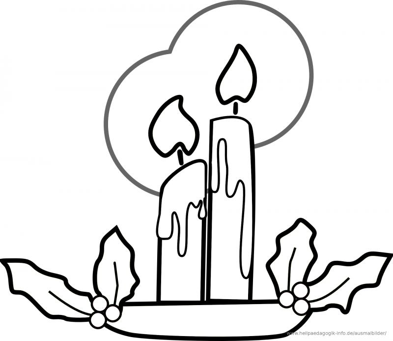 Ausmalbilder zu Weihnachten brennende Kerzen Symbol der Hoffnung