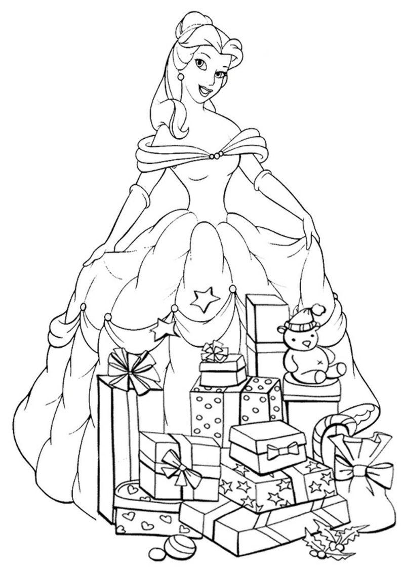 Ausmalbilder zu Weihnachten Prinzessin und Geschenke