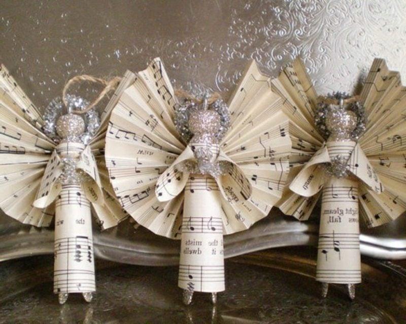 Engel aus Notenpapier selber machen Bastelanleitungen zu Weihnachten