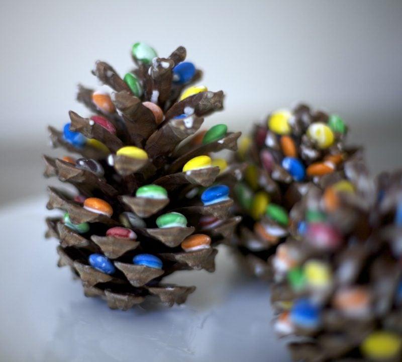 Bastelanleitungen zu Weihnachten originell dekorierte Tannenzapfen