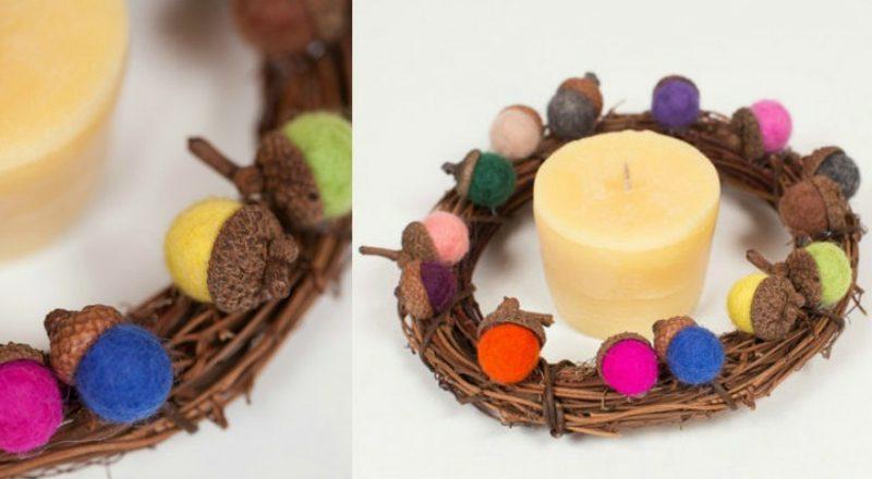 Basteln zu Weihnachten mit Kindern Adventskranz, dekoriert mit bunten Filzkugeln