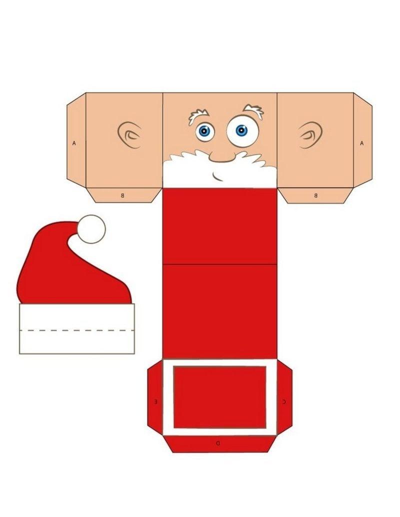 Bastelvorlagen zu Weihnachten lustige Geschenksschachtel Weihnachtsmann