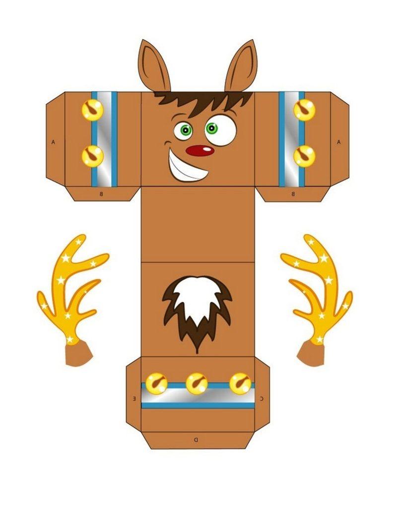Bastelvorlagen zu Weihnachten Geschenksschachtel Rudolf