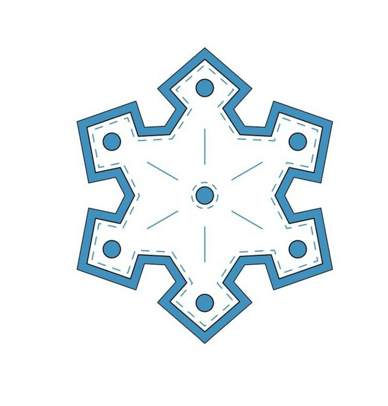 Bastelvorlagen zu Weihnachten Baumschmuck Filz Schneeflocke