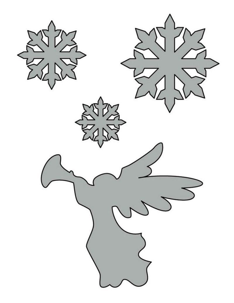 Bastelvorlagen zu Weihnachten Schablonen Scheeflocken und Engel