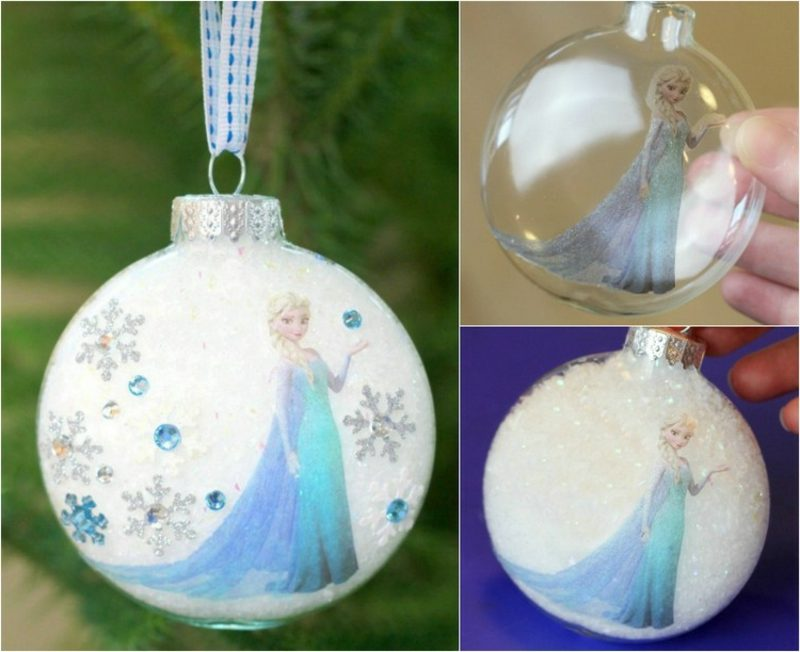 Basteln zu Weihnachten mit Kindern originelle Christbaumkugeln Eiskönigin