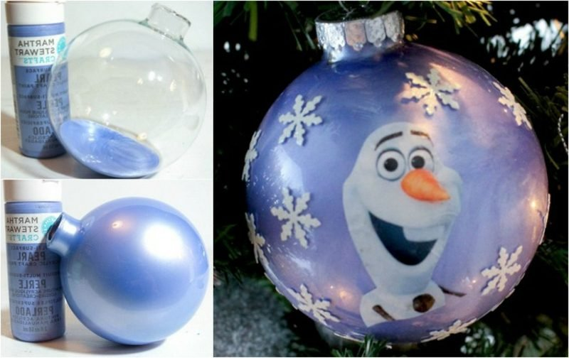Basteln zu Weihnachten mit Kindern Weihnachtskugel mit dem Schneemann Olaf
