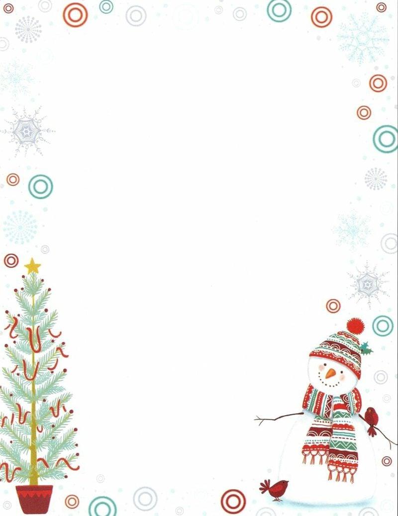 thamatisches Briefpapier zu Weihnachten Tannenbaum und Schneemann