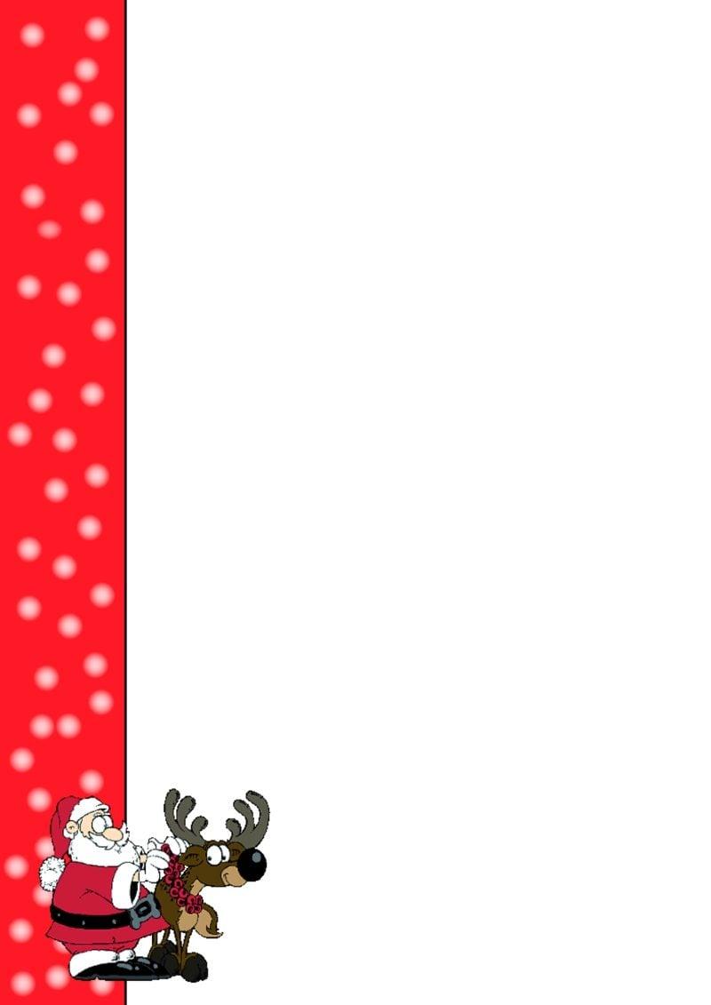 thematisches Briefpapier zu Weihnachten Bild Weihnachtsmann und Rudolf