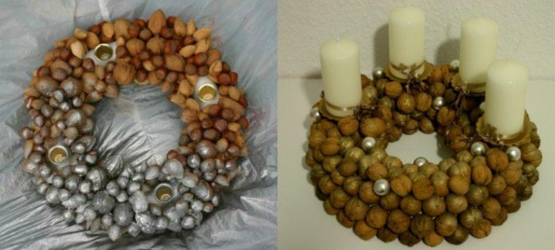 Adventskranz aus Nüssen selber basteln kreative DIY Ideen