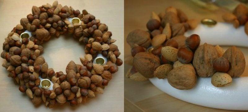 Basteln zu Weihnachten Adventskranz Naturmaterialien Nüsse