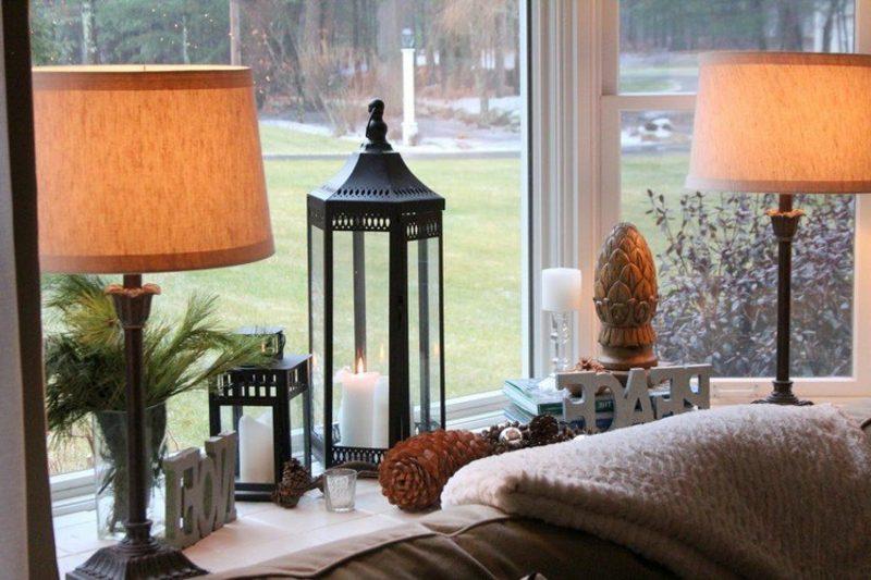Dekoideen zu Weihnachten Laterne Fensterbank