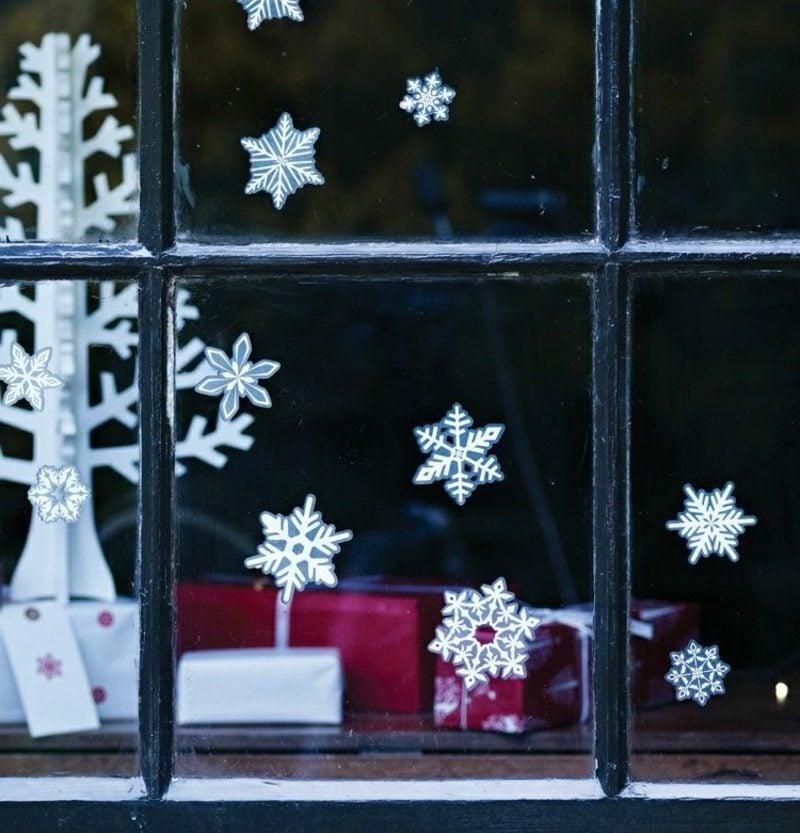Fensterbilder zu Weihachten Schneeflocken