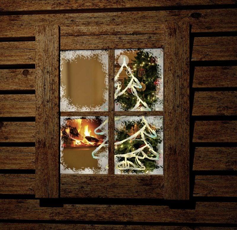 Fensterbilder zu Weihnachten Christbaum Lichterkette