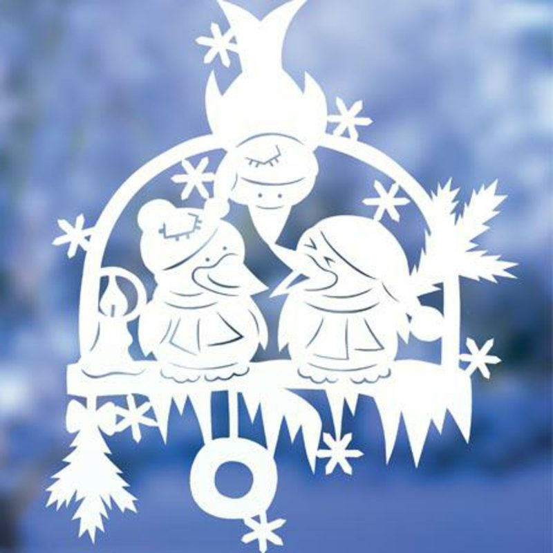 Fensterbilder zu Weihnachten drei Vögel