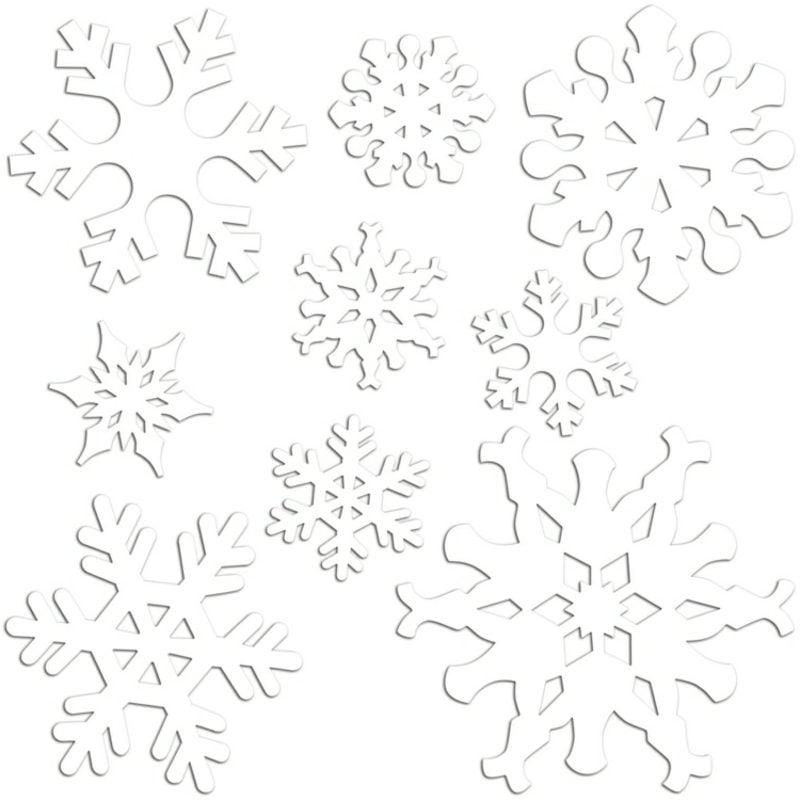 Fensterbilder zu Weihnachten Schneeflocken Bastelvorlage