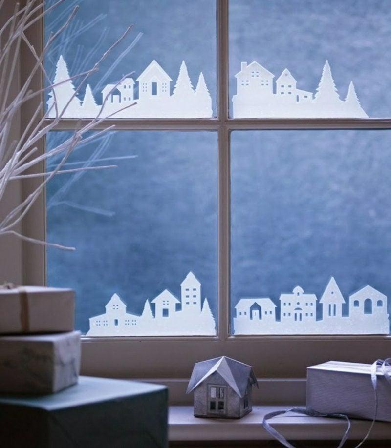 Fensterbilder zu Weihnachten Stadt Papier