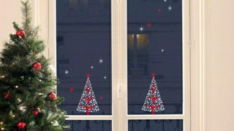 Fensterbilder zu Weihnachten Christbaum