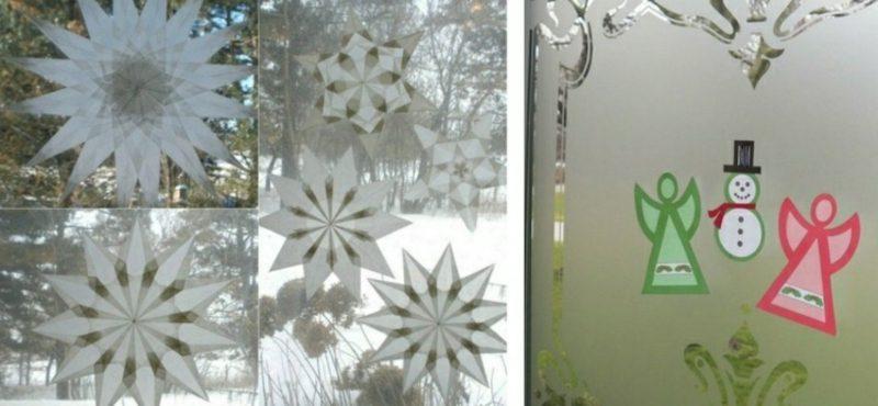 Fensterbilder zu Weihnachten kreative Ideen