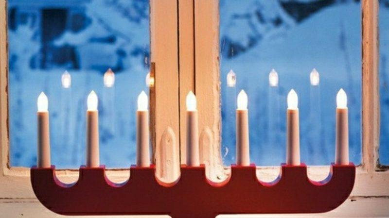 Fensterbilder zu Weihnachten LED-Kerzen
