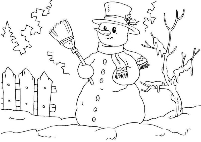 Ausmalbilder zu Weihnachten Schneemann