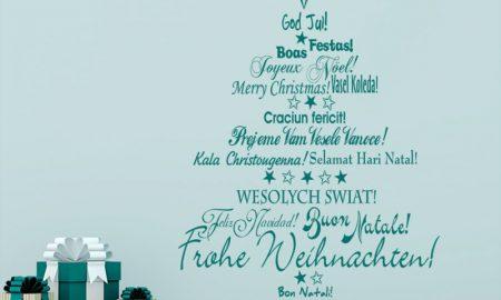 """Weihnachtsbaum """"frohe Weihnachten"""" auf mehrere Sprachen"""