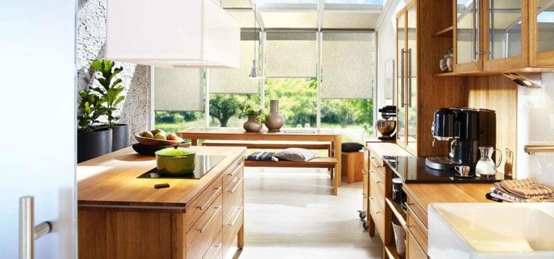modulare Küche aus Massivholz im Landhaus Stil