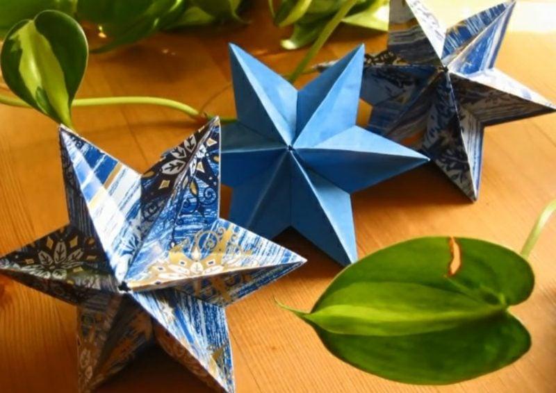 Bastelanleitungen zu Weihnachten farbige Sterne aus Papier