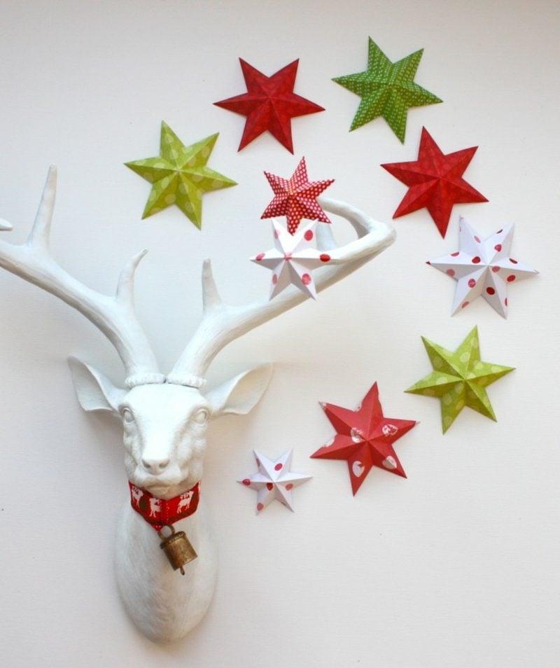 Bastelanleitungen zu Weihnachten bunte Papiersterne